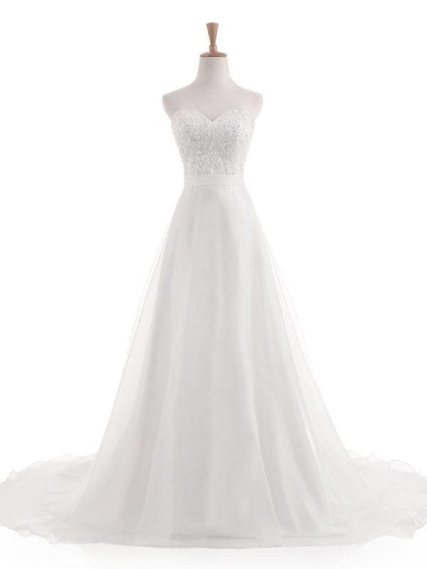 White/ivory Chiffon Embroidery Beach A-line Wedding Dress