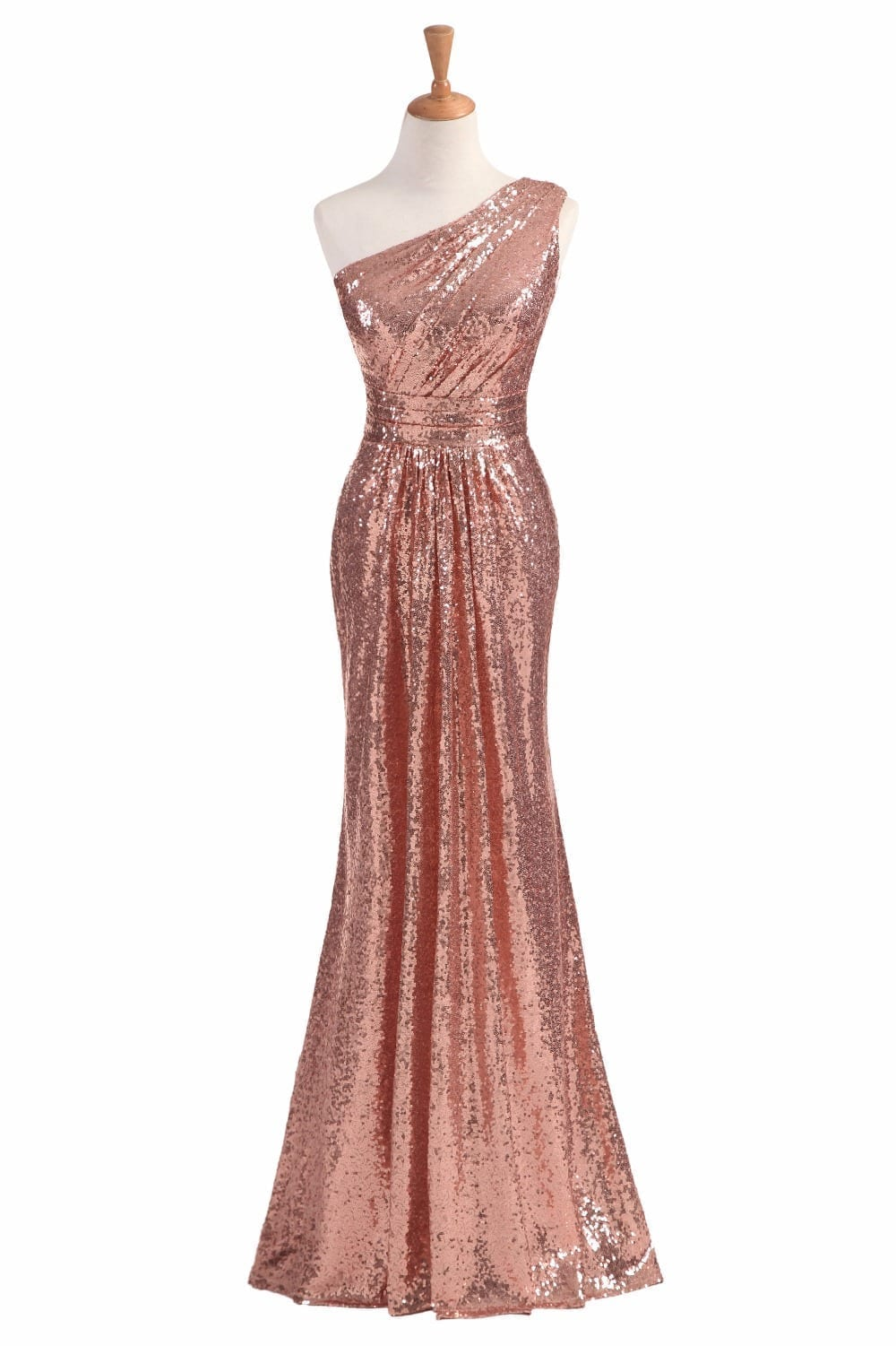 Rose Gold Wine Red Blue One-shoulder Colorful Sparkly Long Sequins Bridesmaid Dress