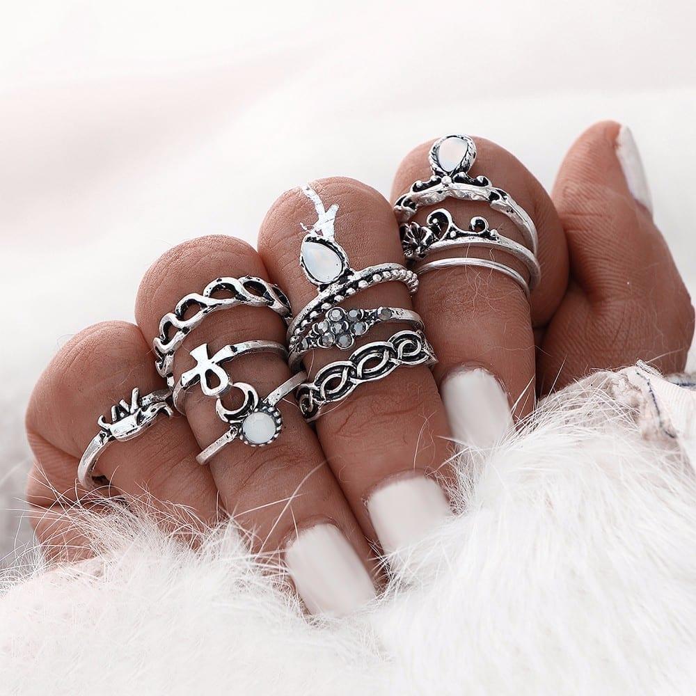 10pcs/set Gold Silver Color Boho Beach Vintage Flower Elephant Midi Knuckle Ring Set