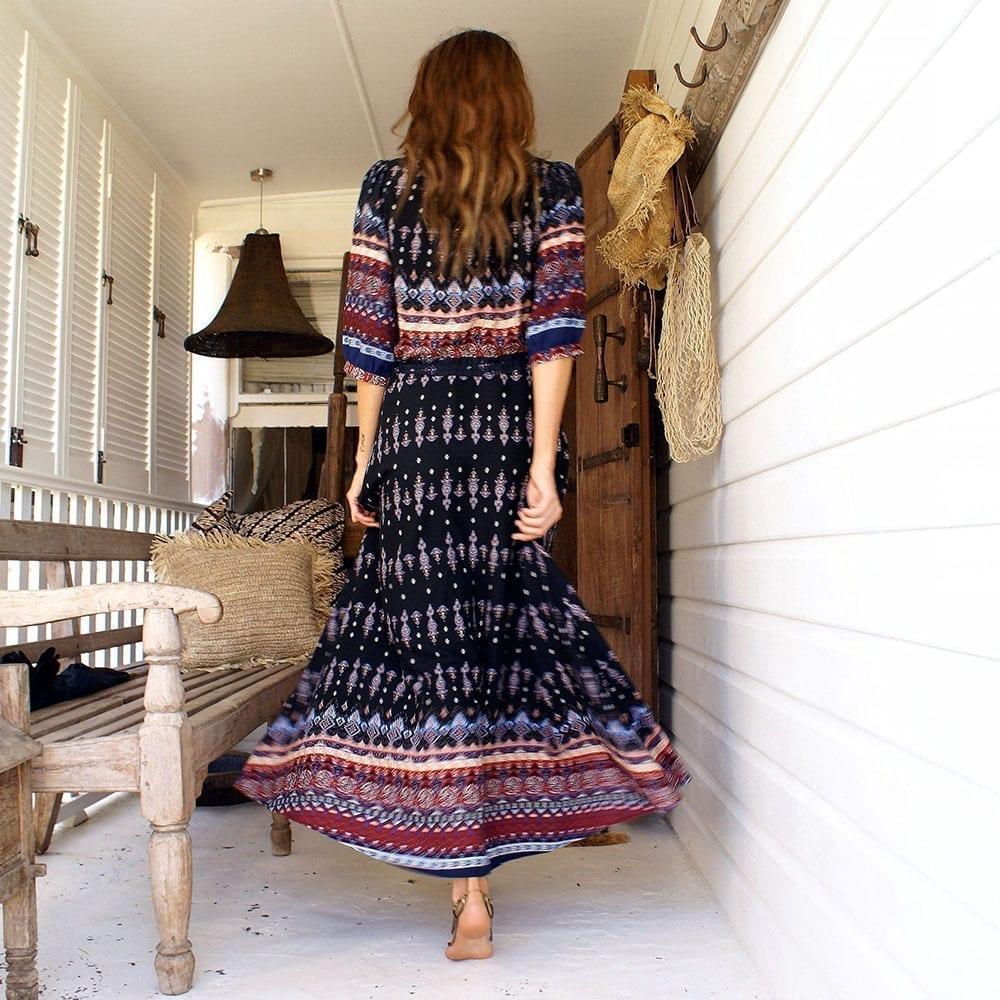 Floral Print Chic Boho Maxi Long Dress