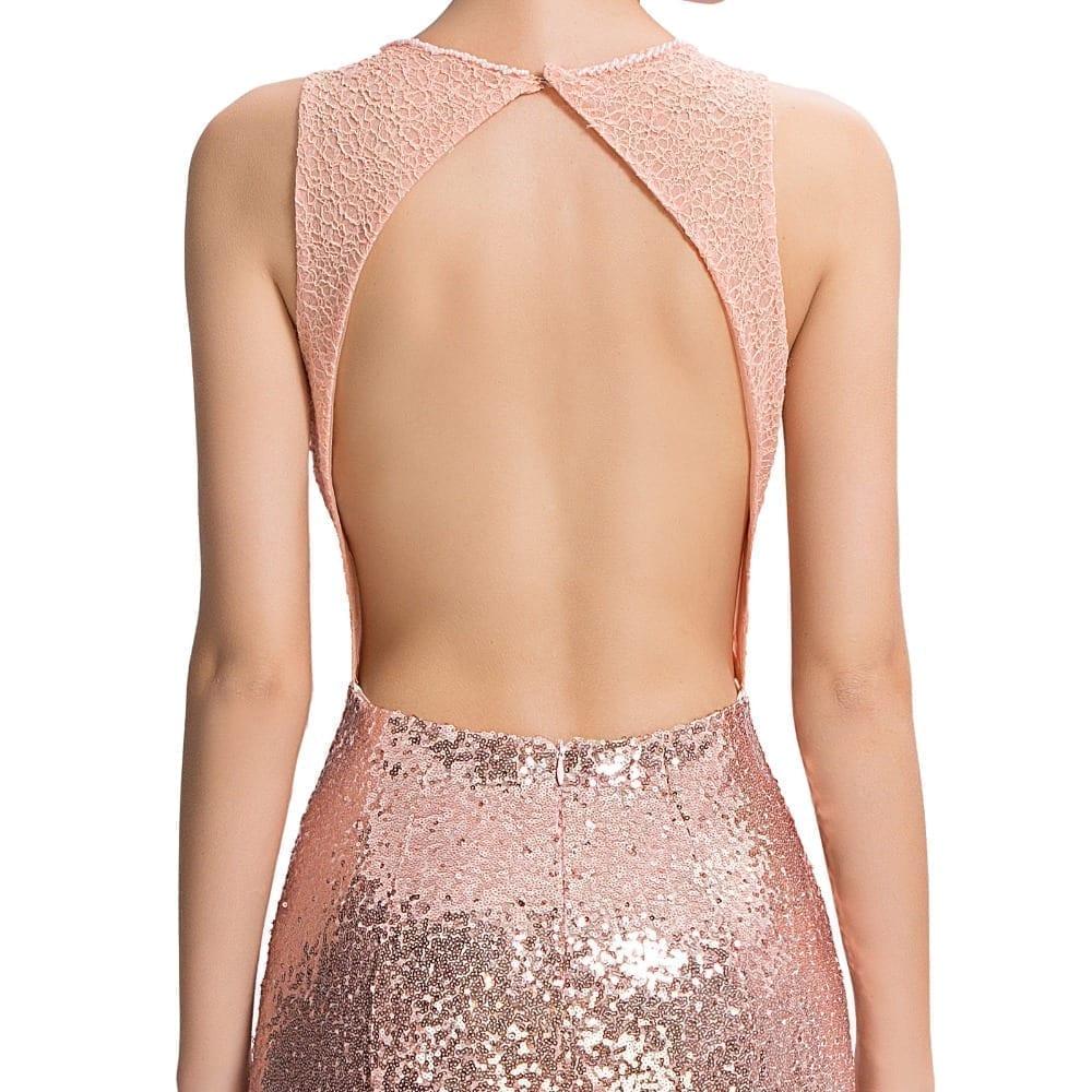 Elegant Pink Sequin Floor Length Backless Lace Mermaid Evening Dress