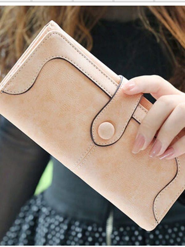 Retro Matte Stitching Long Purse Clutch Wallet Handbag