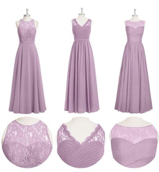 3 Styles Long Chiffon Lace A-line Bridesmaid Dress
