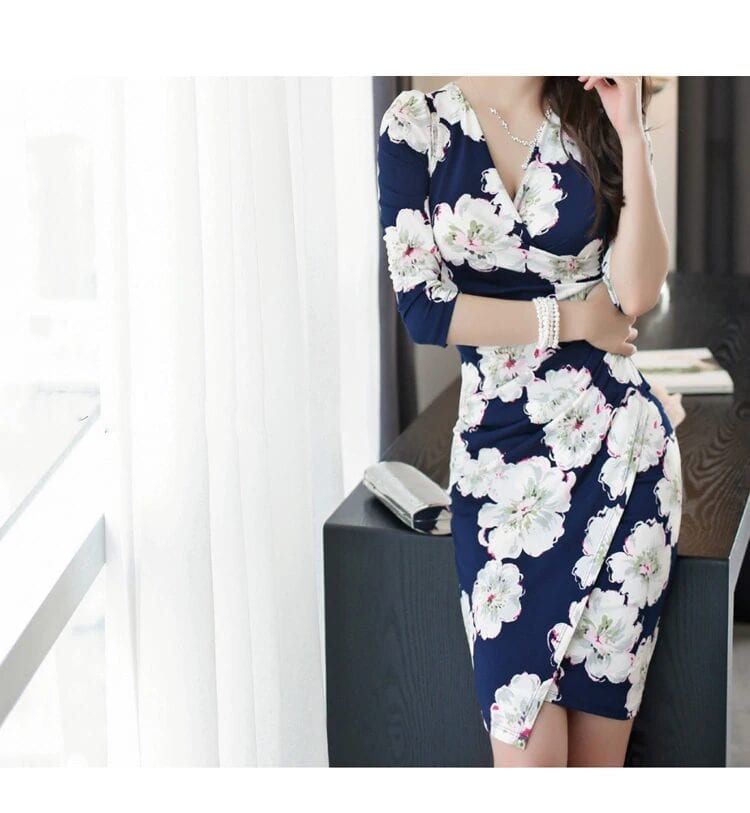 Elegant Sheath Floral Pencil Bodycon Dress