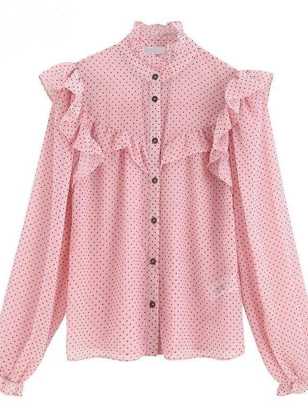Pink Vintage Ruffled Dot Print Buttons Chiffon Blouse Shirt