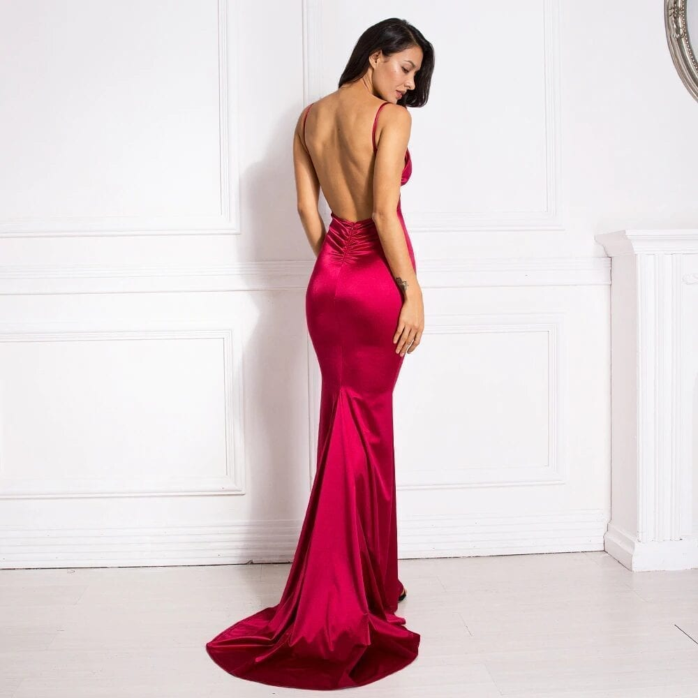 Deep V-neck Burgundy Satin Mermaid Open Back Long Evening Dress