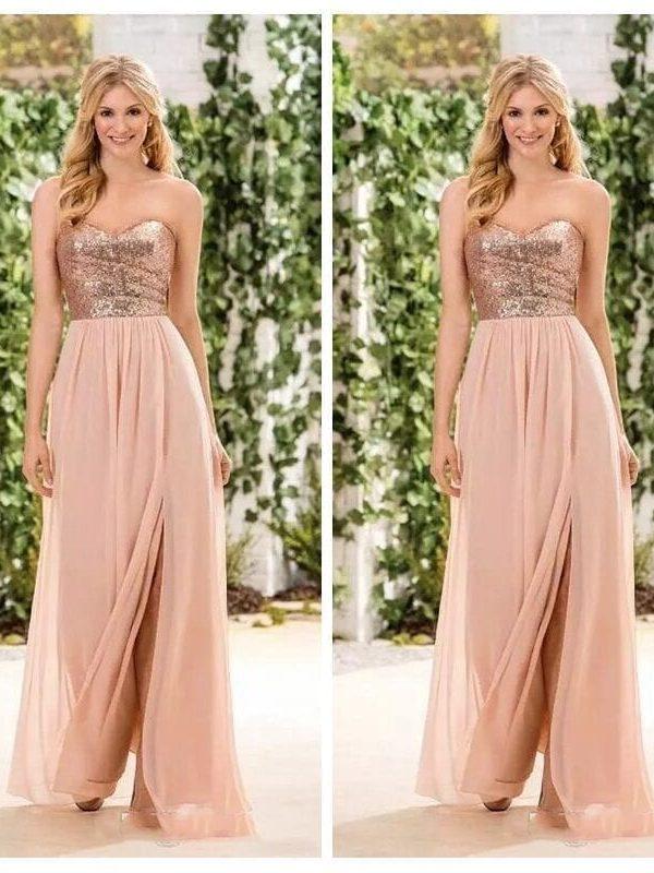 Rose Gold Sequin Sweetheart Split A Line Bridesmaid Dress