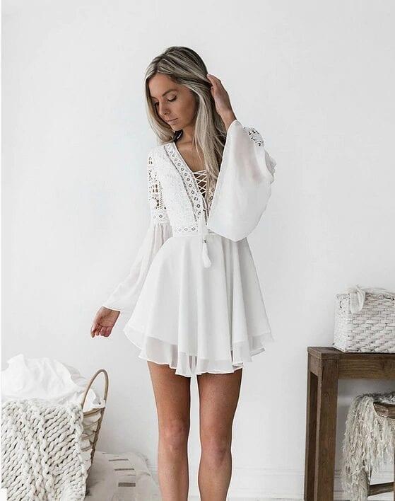 White Lace V-neck Long Sleeve Boho Dress