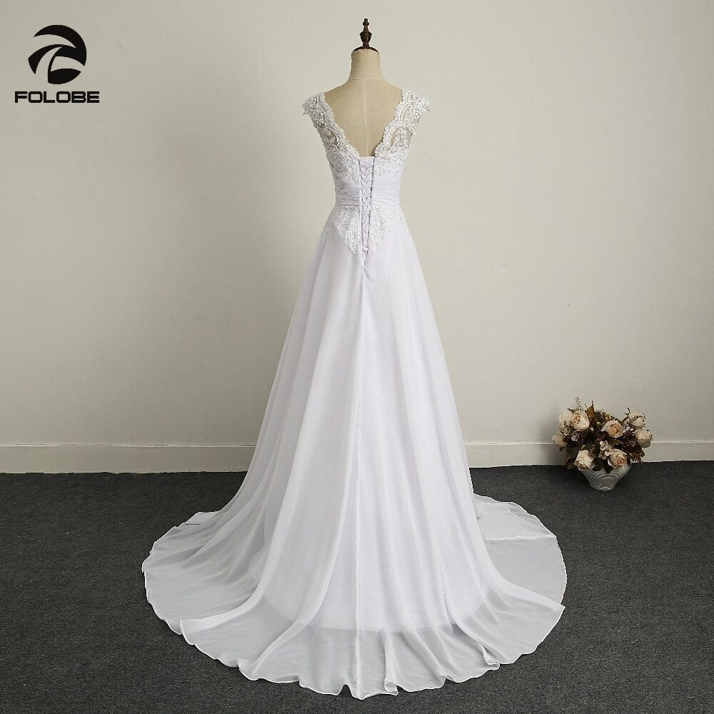 V-neck Beads Lace Backless Pleats Chiffon A-line Beach Long Wedding Dress