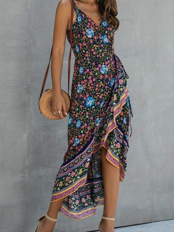 Ruffle Sleeveless Floral Print Strap High Waist Maxi Dress