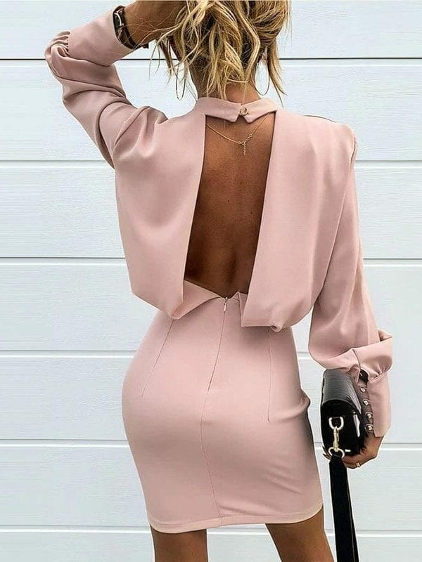 Pink Backless Solid Bodycon Long Sleeve Dress