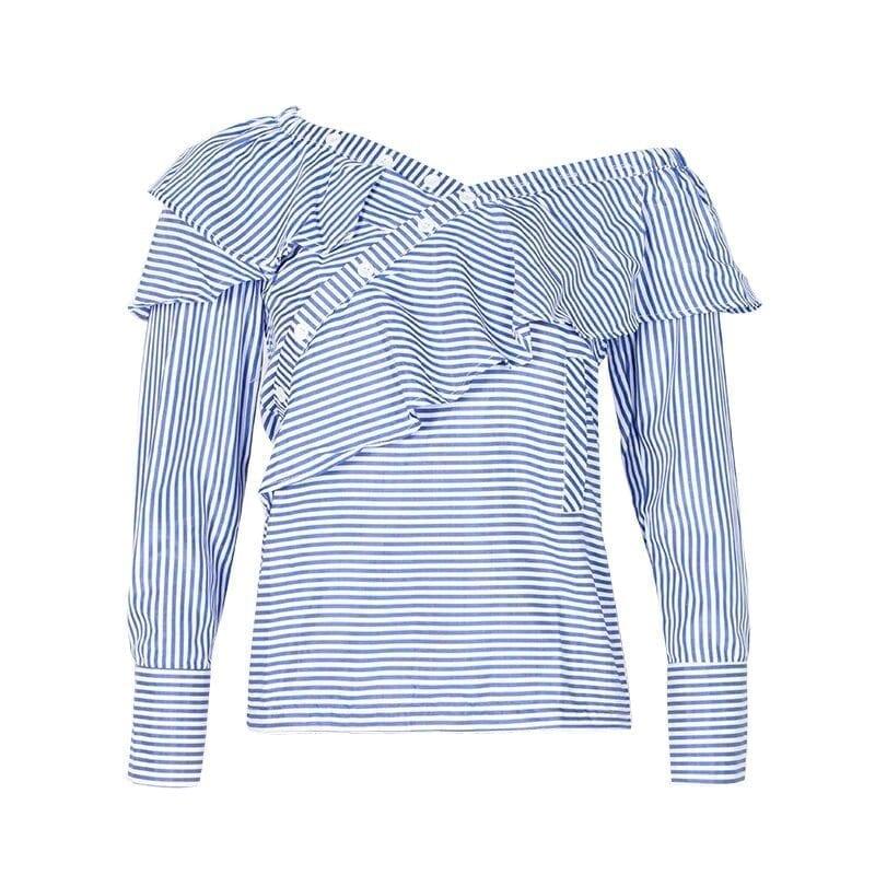 One Shoulder Off Ruffles Blue Striped Long Sleeve Blouse Shirt
