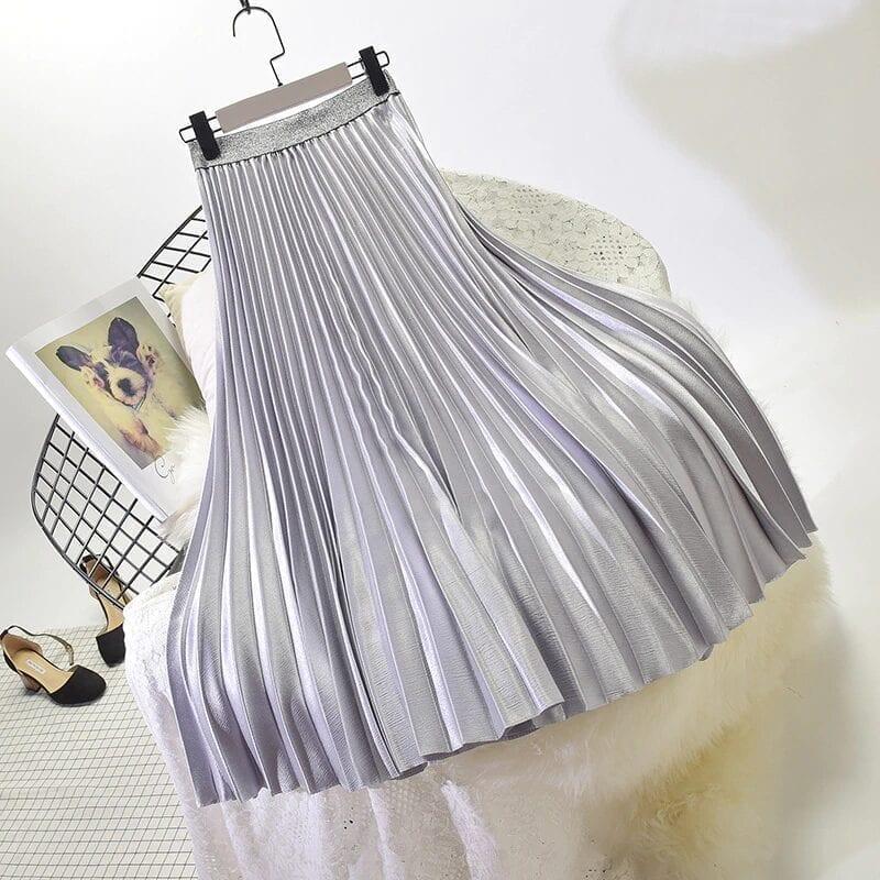 Stretch High Waist Long Pleated Skirt