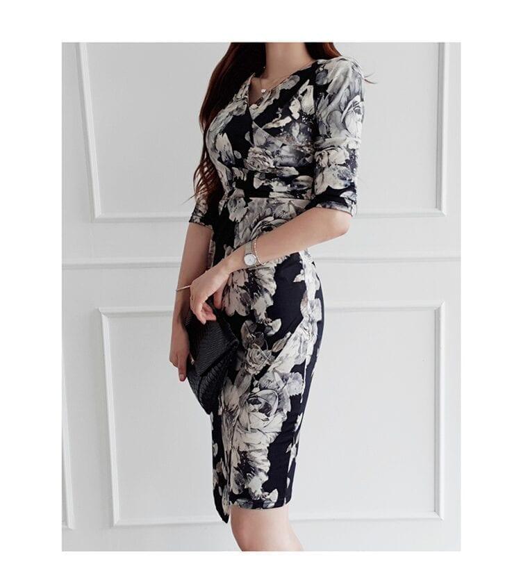 Floral Print Half Sleeve Sheath Knee-length Dress