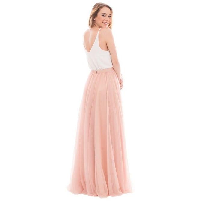 Elegant A-line V-neck Tulle Skirt Long Bridesmaid Dress