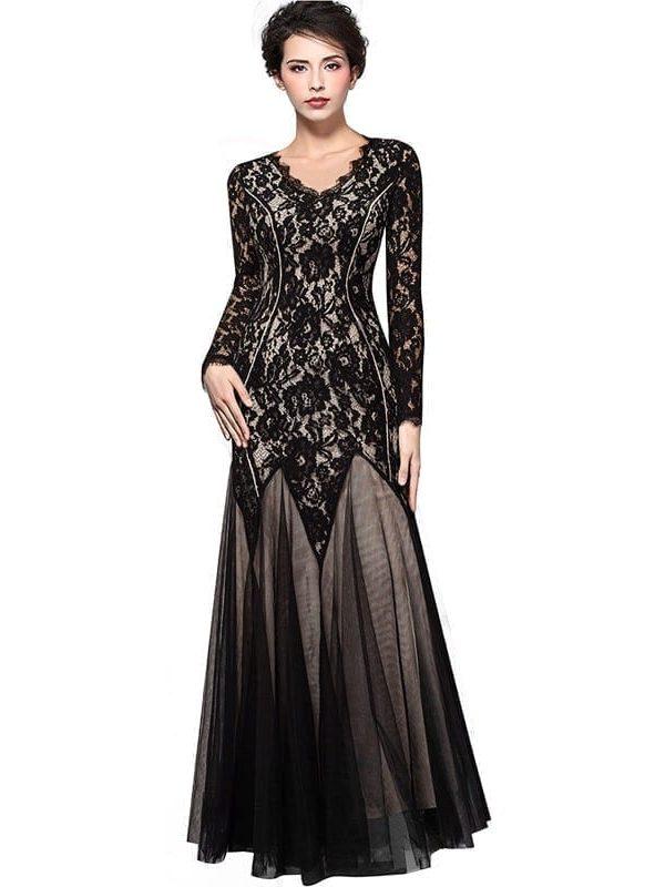 Vintage Floral Lace V-neck Long Sleeve Bodycon Maxi Long Mermaid Dress