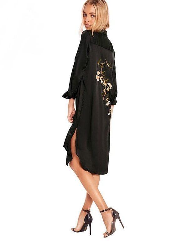 Black Long Sleeve Turn-down Collar Split Side Embroidery Loose Dress
