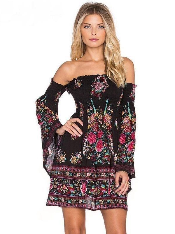 Flare Sleeve Off Shoulder Strapless Boho Dress
