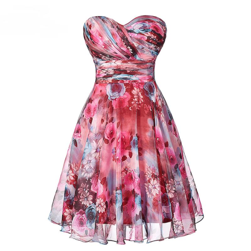 Chiffon Floral Print Short Wedding Bridesmaid Dress