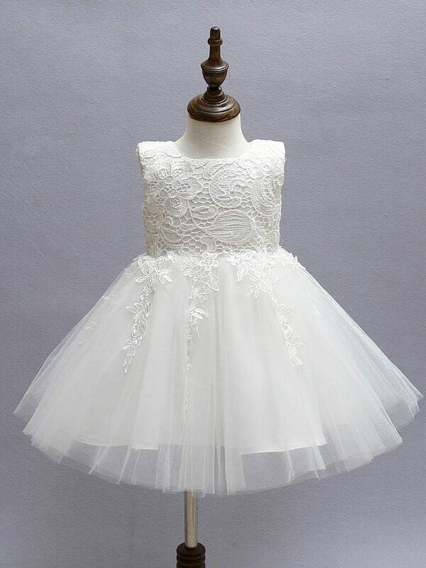 Ivory Tulle Lace Flower Girl Dress