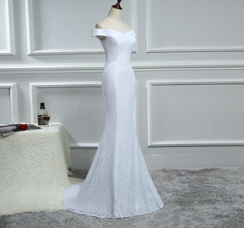 Elegant White Ivory Lace Mermaid Wedding Dress