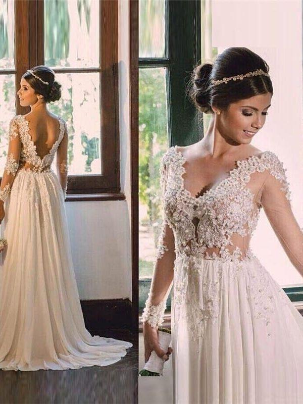 Vintage Lace Long Sleeve See Through Appliques V-neck Backless Chiffon Boho Beach Wedding Dress