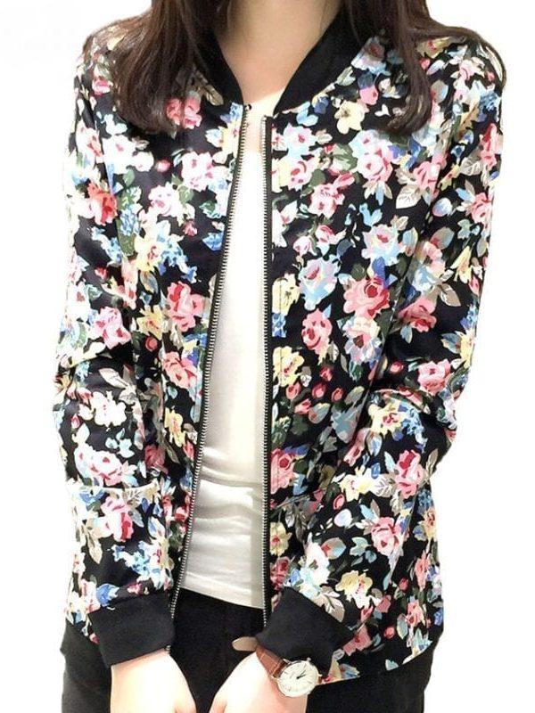 Floral Print Zipper Baseball Jacket