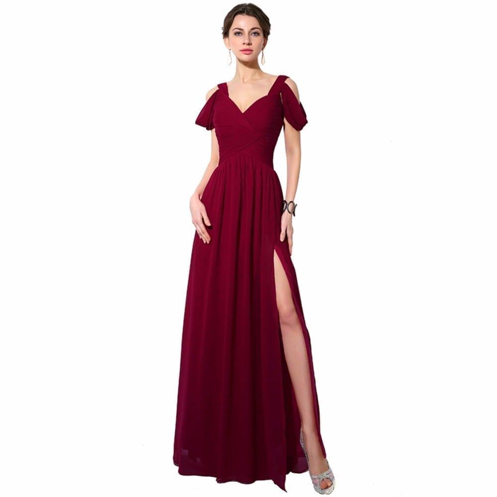 Elegant Off Shoulder Chiffon Bridesmaid Dress