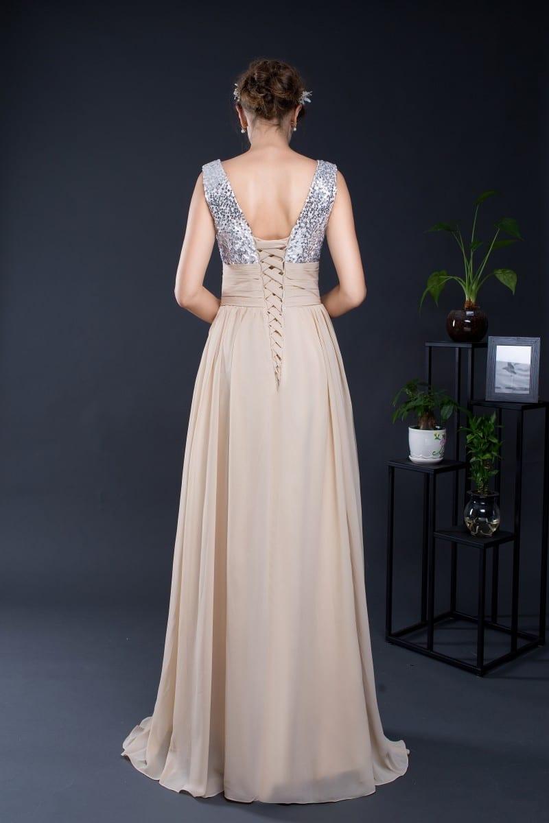 A-line V-neck Top Sequined Chiffon Long Bridesmaid Dress