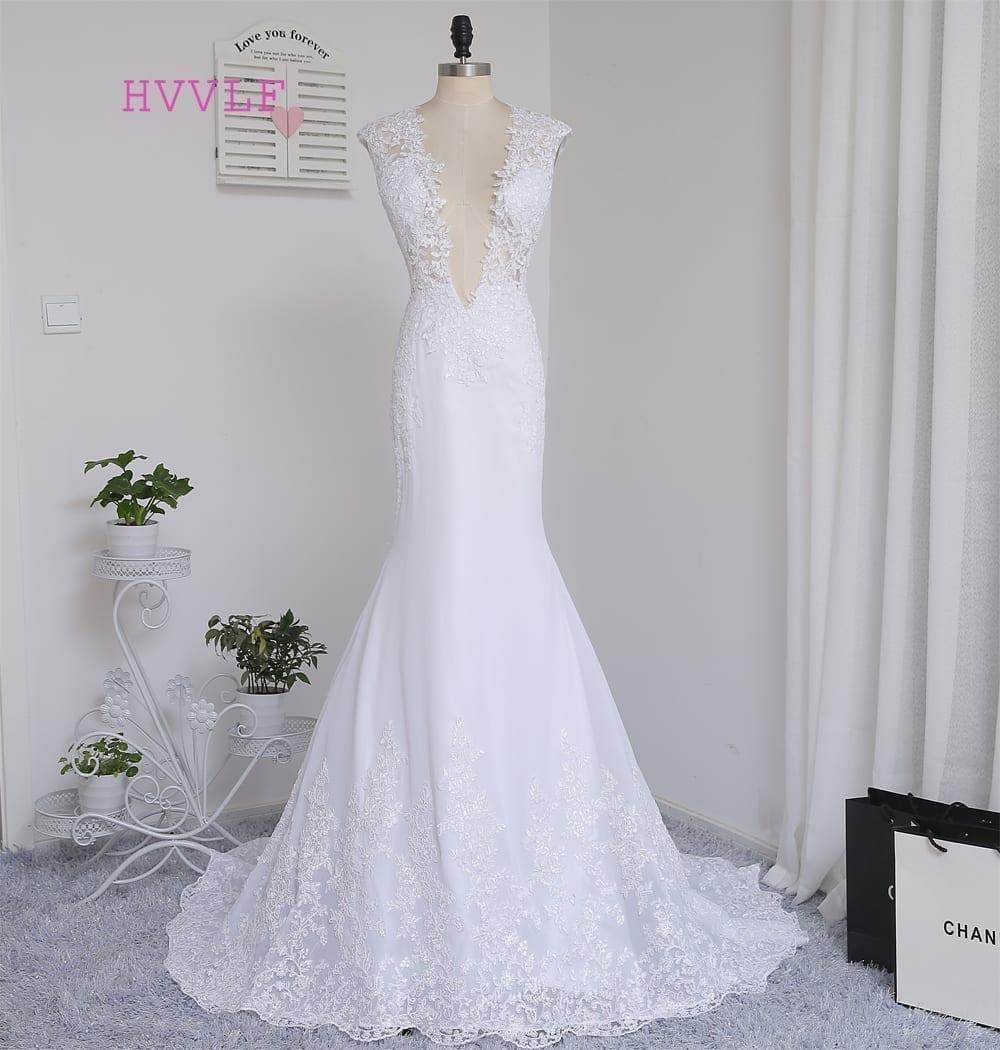Deep V-neck Floor Length Cap Sleeve Lace Vintage Wedding Dress