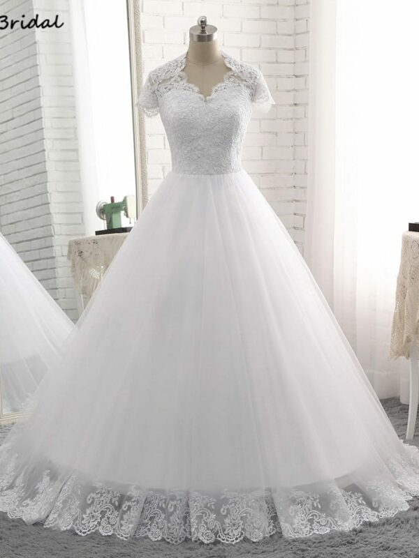 Cap Sleeve Sweetheart Appliques Floor-length White Long Wedding Dress