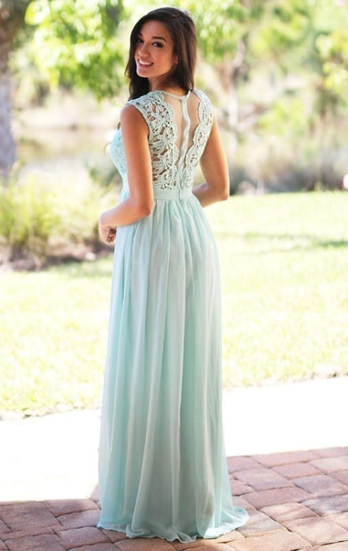 Elegant Mint Green Long Lace Chiffon Pleats Back Zipper Bridesmaid Dress