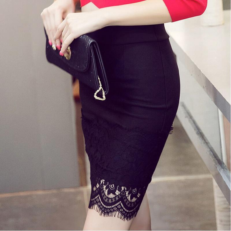 Elegant Black Lace Pencil Mini Skirt