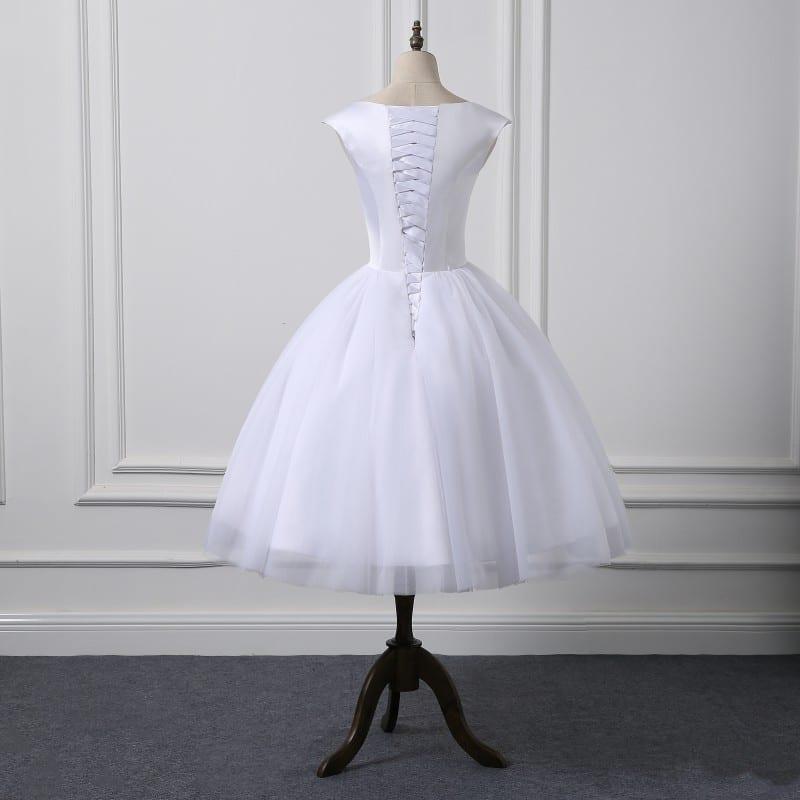 Short Cap Sleeve Knee Length Scoop Neckline Simple Ball Gown Wedding Dress