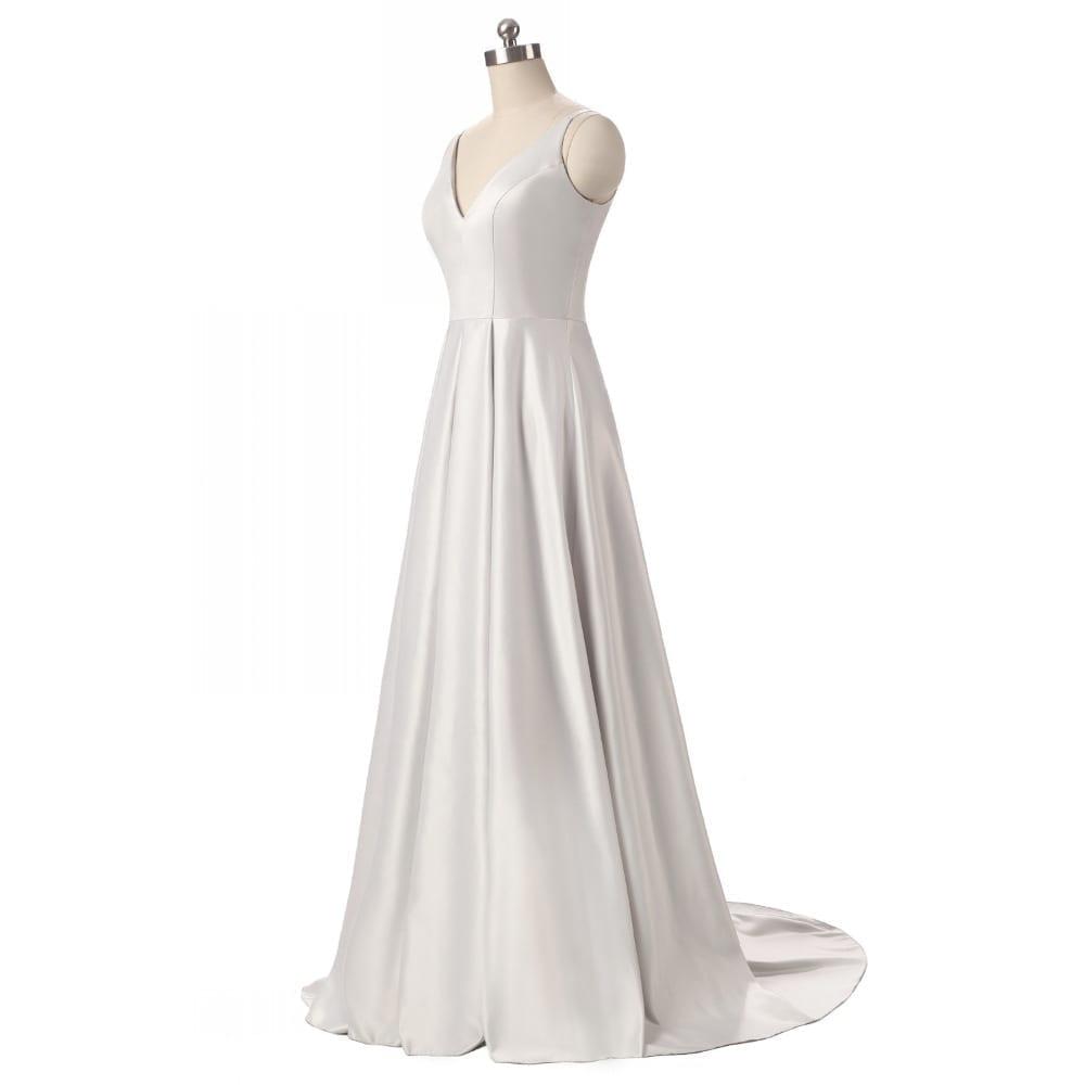 Elegant V-neck Pleat Satin Long Evening Dress