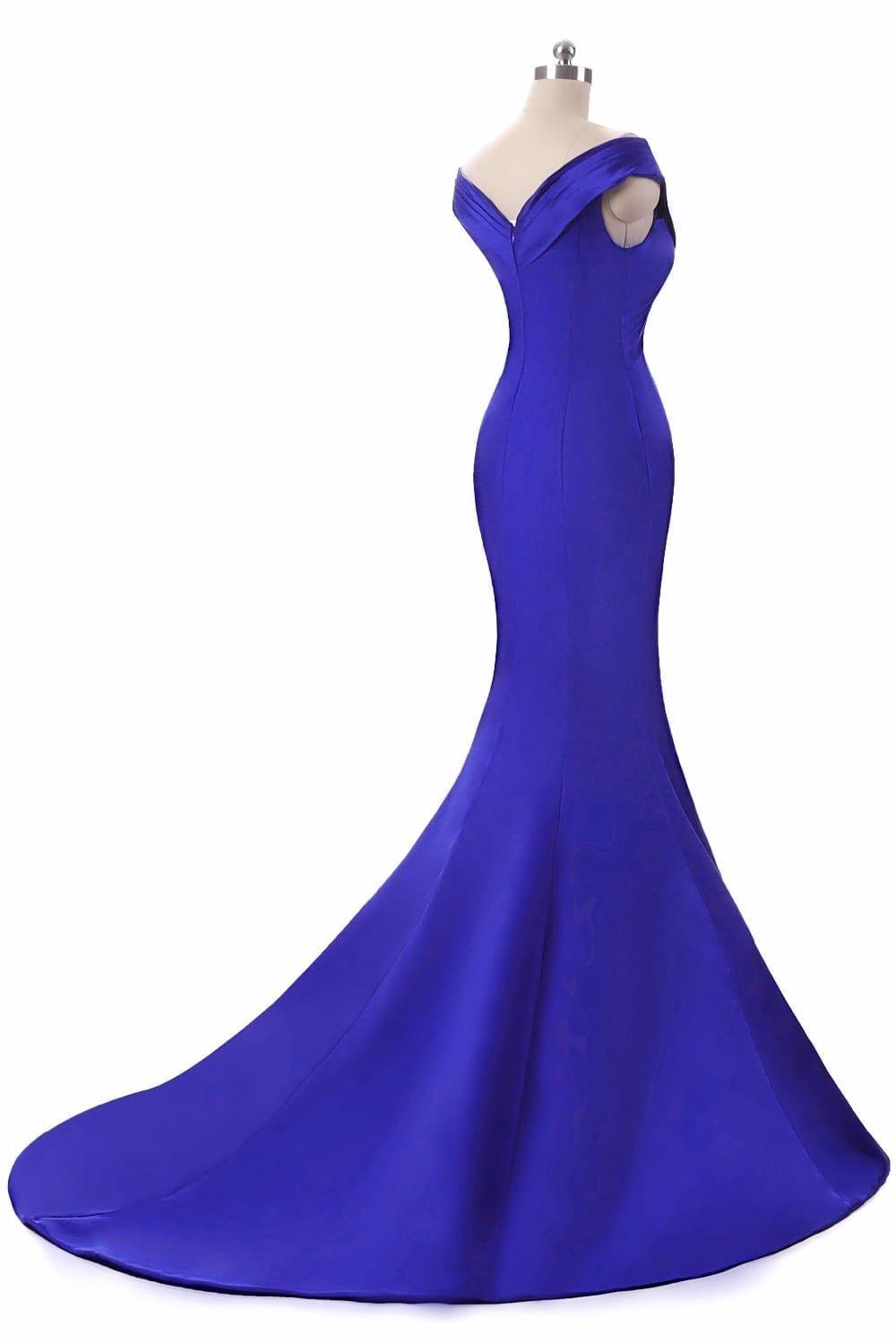 Royal Blue V-neck Floor Length Mermaid Long Evening Dress