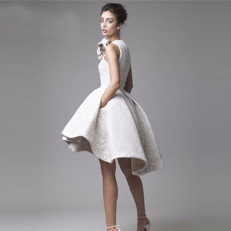 Little White Lace High Low High Neck Knee Length Puffy Prom Cocktail Dress