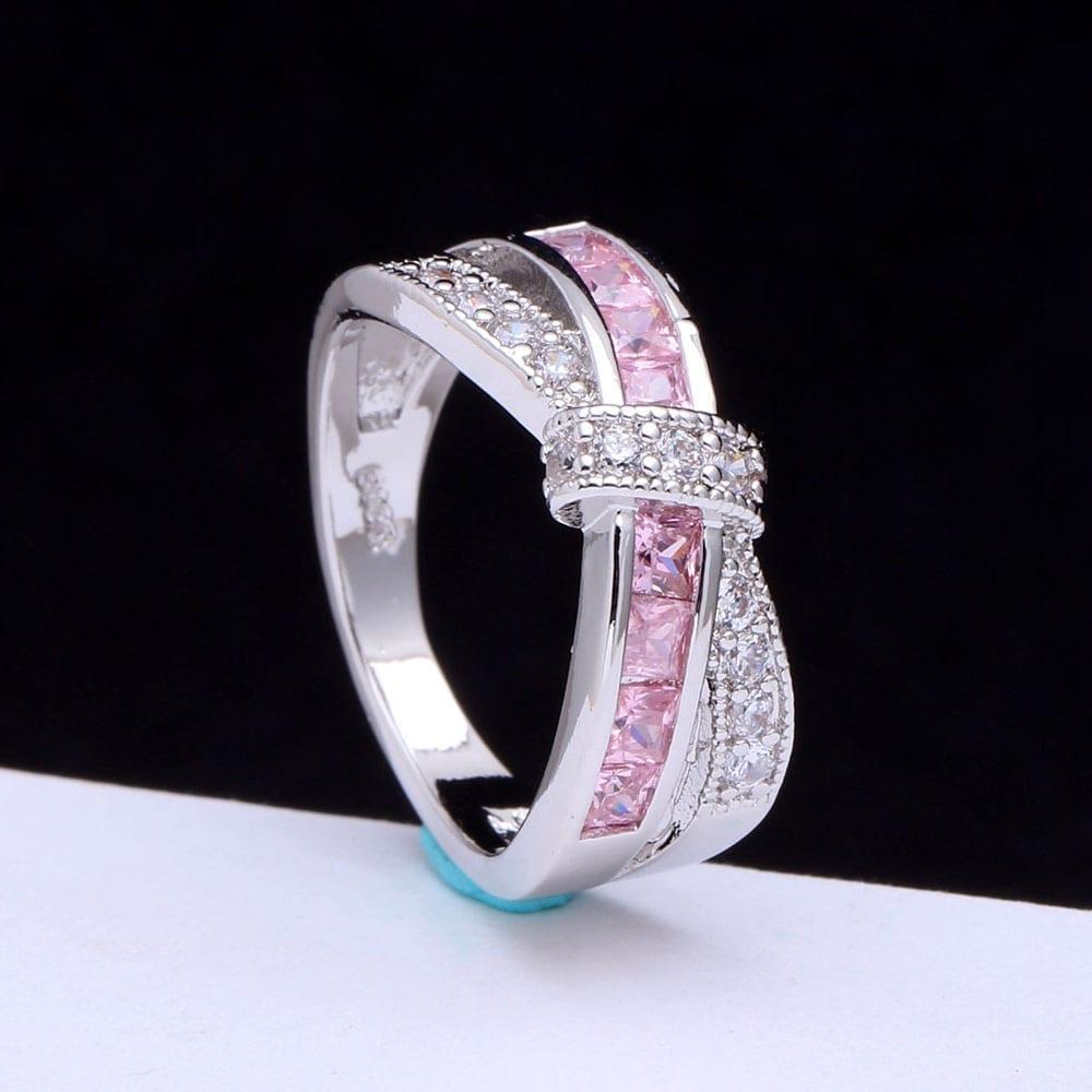 Amethyst Cross Finger Paved Zircon Wedding Engagement Ring