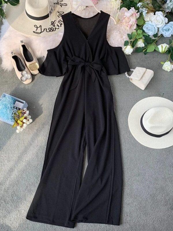 V-neck Cold Shoulder Flare Sleeve Lace-up Bow Long Jumpsuit
