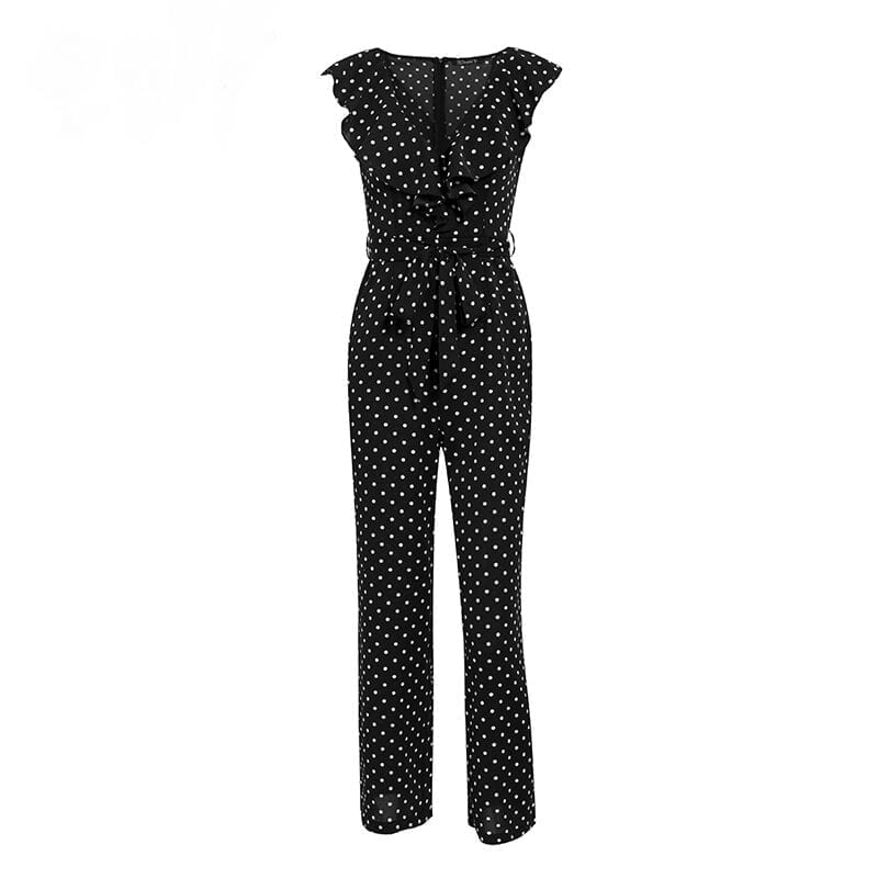 Elegant Polka Dot Print Ruffle Sleeveless V Neck Long Jumpsuit