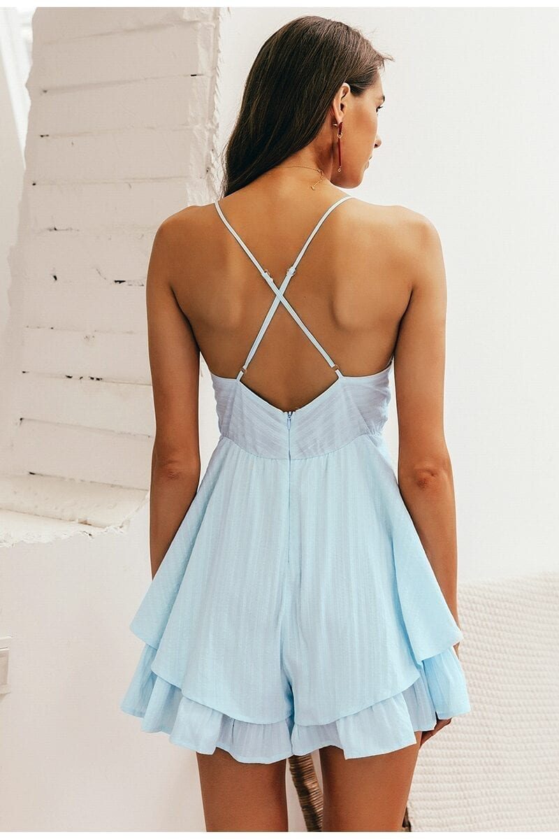 V-neck Hollow Out Spaghetti Strap Jumpsuit Romper