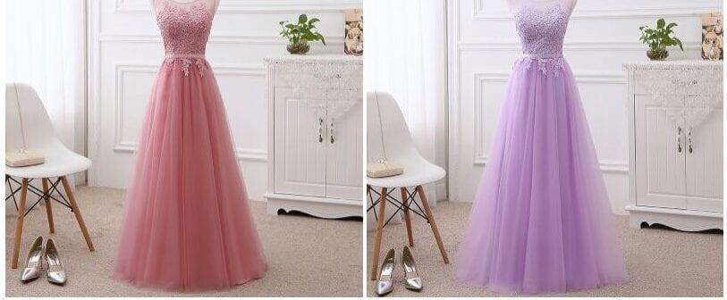 Elegant A-line Lace Tulle Bridesmaid Dress