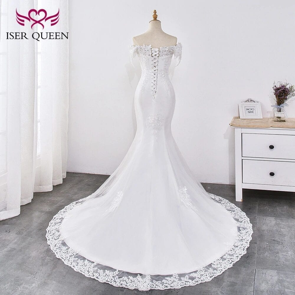 Pearl Appliques Court Train Lace Up Mermaid Wedding Dress