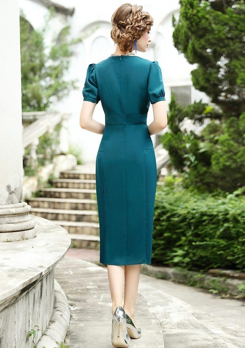 Elegant Vintage O-neck Office Lady Pencil Dress