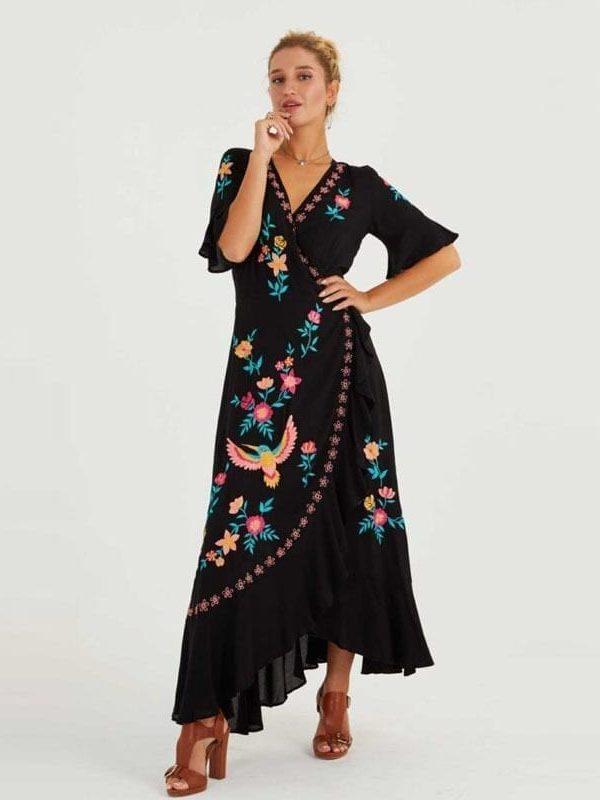 Embroidered Ruffles Spliced V Neck Asymmetrical Beach Boho Dress