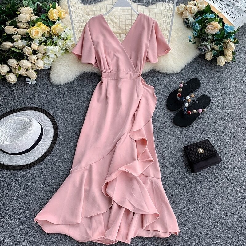 Asymmetrical Ruffles V Neck Elegant Midi Dress