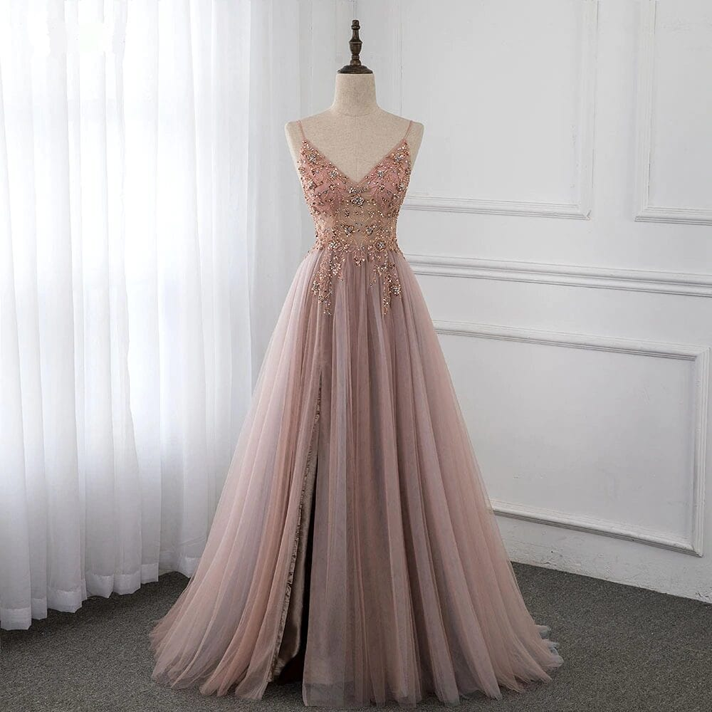 Dusty Pink Crystal Straps Spaghetti See Through Tulle Prom Dress
