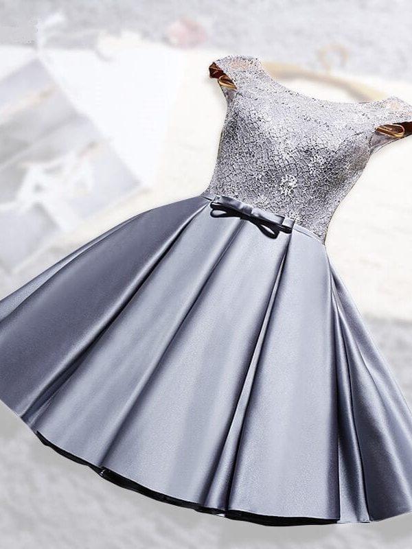 O-neck Lace Satin Short Off The Shoulder Bridesmaid Dress