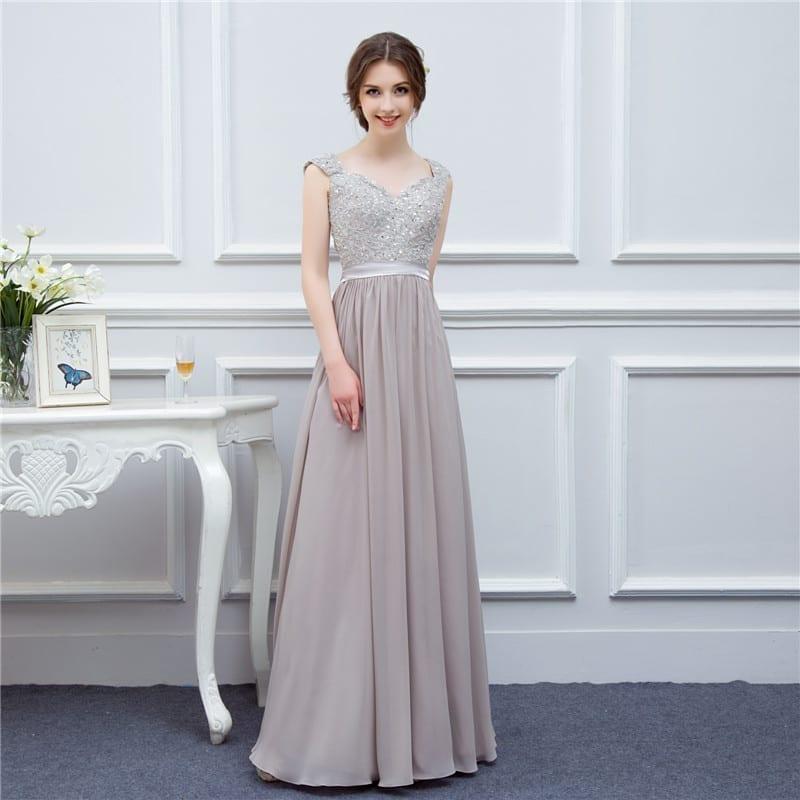 Silver Grey Cap Sleeve Applique Floor Length Long Chiffon Bridesmaid Dress