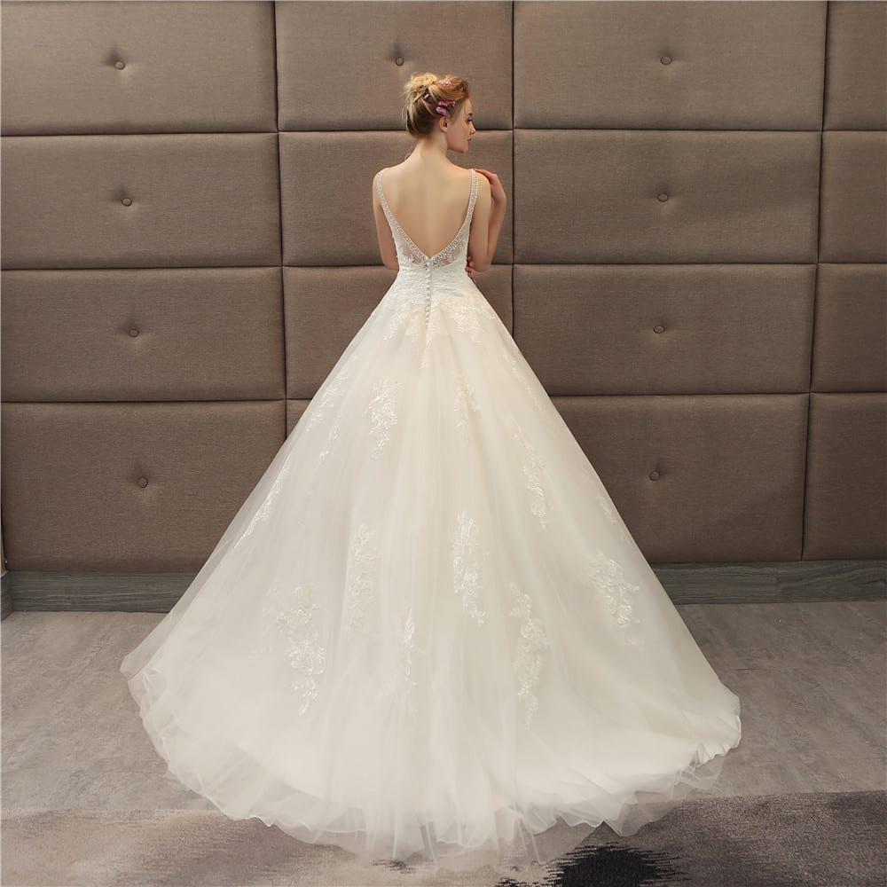 Vintage Beaded V-neck Luxury Wedding Dress